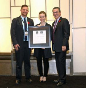 Victoria Stanhope accepting excellence award for private businesses